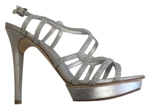 Pelle Moda High Heel Sandals Platform Sandals Evening Sandals Silver Formal