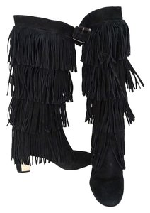 Brian Atwood Size 10 Fringe Suede Black Boots