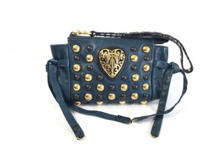 Gucci Made In Italy Gg Studded Blue Clutch
