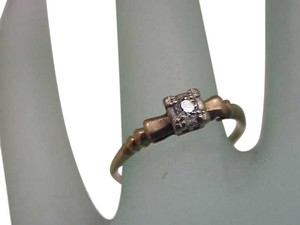 Estate Deco 14k Yellow Gold Engagment Diamond Ornate Ring ,1920's