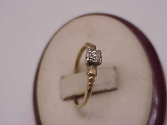 Other Estate Deco 14kt Yellow Gold Engagement Diamond Ornate Ring,1920's