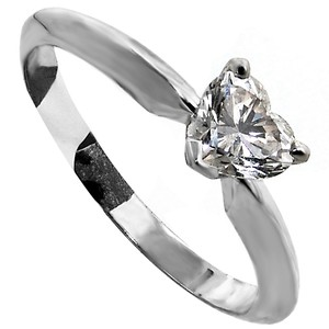 ABC Jewelry Heart Shaped Diamond Solitaire Ring