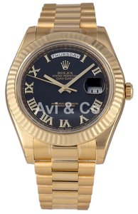 Rolex Rolex Day-Date II 18K Yellow Gold Watch Black Dial 218238