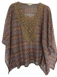 Hem & Thread Top Brown with multicolor