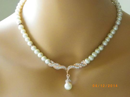 Ivory Rose Gold Necklace and Earringsivory Pearl Necklace Bridesmaid Gift Necklace And Jewelry Set
