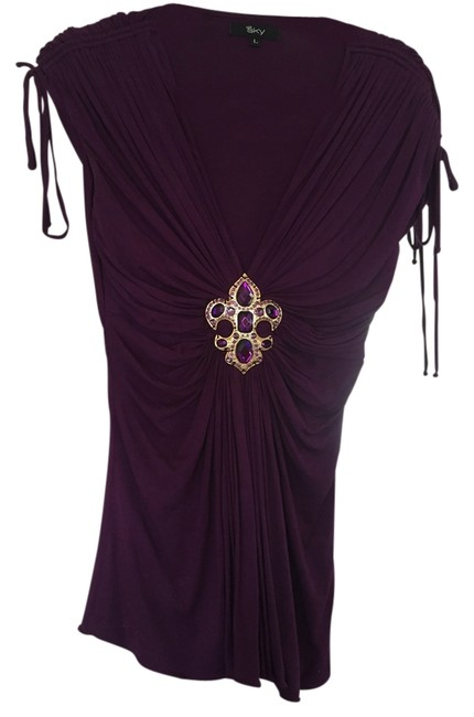 Item - With Tie Sleeves. Fitted Purple Top