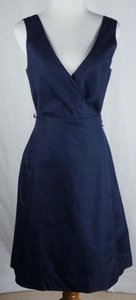 J.Crew Serena Cotton Cady Navy No Sash Dress