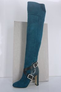 Jimmy Choo Snakeskin Otk Thigh High Buckle Strap Nib Teal Boots