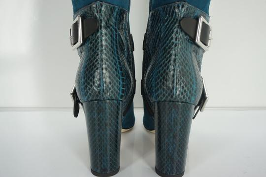 Jimmy Choo Snakeskin Otk Thigh High Buckle Strap Blue Boots