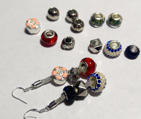 Other European Charm Earrings Murano Glass Silver Tone 16 Beads J2451