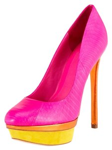 Brian Atwood Leather Snakeskin Two-tone Stiletto Hot pink Pumps