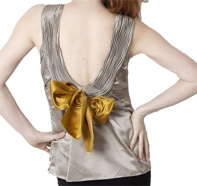 Item - Silk V-back with Bow Silver and Golden Mustard Top