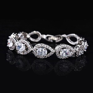 Bridal Cz Rhodium Plated Water Drop Bracelet
