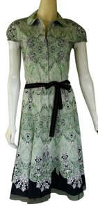 Gianni Bini short dress Green Cotton Blend Snap Front Tie Belt on Tradesy