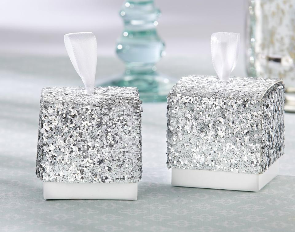 Silver Wedding Gift: Lot Of 96 Silver Glitter Favor Boxes Wedding Shower