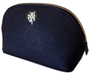 Tory Burch TORY BURCH YORK SAFFIANO LEATHER COSMETIC CASE NAVY