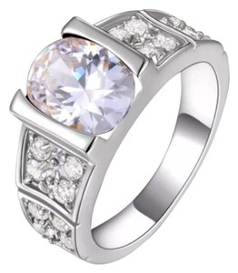 New 6ct AAA Clear White Topaz & White Gold Filled Ring