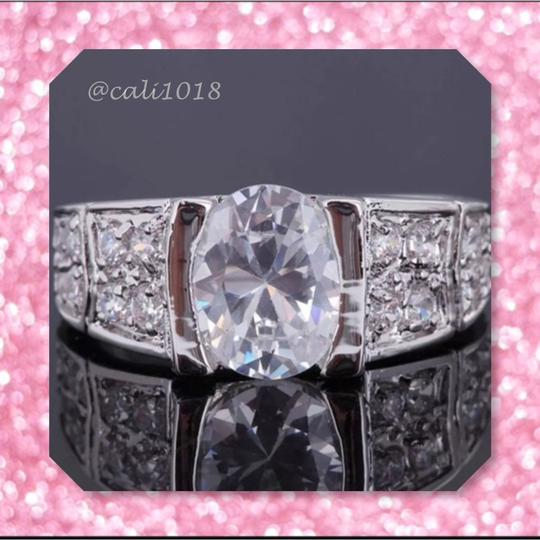 Other New 6ct AAA Clear White Topaz & White Gold Filled Ring