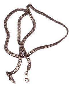Vintage Estate Italy Sterling Silver Unisex Cuban Chain Necklace, 1950s