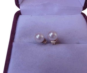 Estate 14k Solid Yellow Gold Freshwater Pearl Earrings Studs
