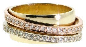 WHOLESALE Designer - Tri-color 14k gold and diamond right hand ring/band - perfect gift for a bride engagement wedding