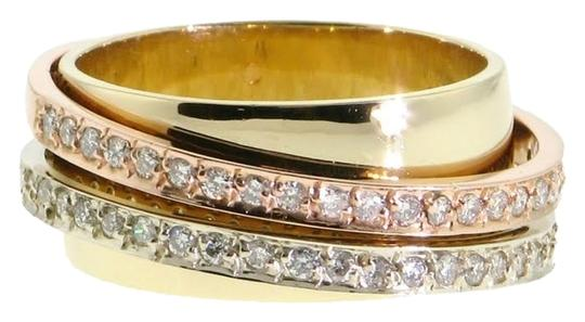Other DESIGNER WHOLESALE-Tri-color Rose white yellow 14k diamond ring Image 0