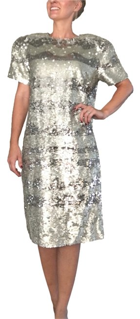 Preload https://img-static.tradesy.com/item/14893477/bill-blass-silver-sequin-dress-blass-sequin-striped-knee-length-formal-dress-size-12-l-0-1-650-650.jpg