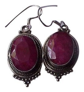 Estate Very Cute Sterling Silver Genuine Ruby Eearrings, 1950's