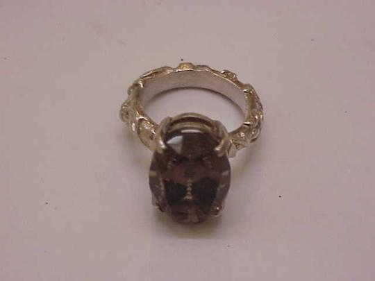 Other Estate Very Cute Huge Sterling Silver Genuine Smoky Quartz Ring, 1950's