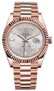Rolex Rolex Day-Date 40 18K Everose Gold Watch Silver Diamond Dial 228235
