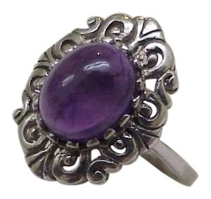 Estate Vintage Very Cute Sterling Silver Genuine Amethyst Ring, 1950's