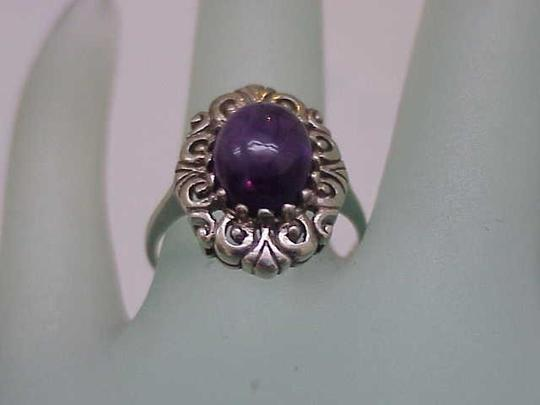 Other Estate Vintage Very Cute Sterling Silver Genuine Amethyst Ring, 1950's