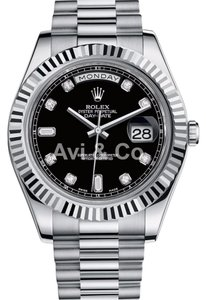 Rolex Rolex Day-Date II 18K White Gold Watch Black Diamond Dial 218239