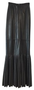 ALAÏA Leather Mermaid Maxi Skirt Black