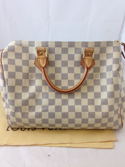 1597cba1b98 Louis Vuitton Speedy 30 Damier Azur Lock Key and Dustbag Checkered White  Coated Canvas with Leather Handles Accents Hobo Bag
