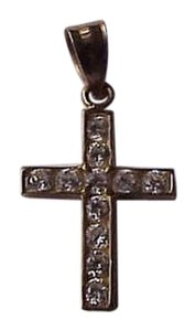 Estate Vintage 14k Yellow Gold 1.00cttw Cubic Zirconia Cross - Pendant ,1950s