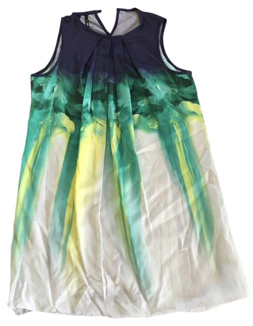 Preload https://item1.tradesy.com/images/mango-navy-green-yellow-cream-sleeveless-a-line-above-knee-short-casual-dress-size-10-m-14895760-0-1.jpg?width=400&height=650