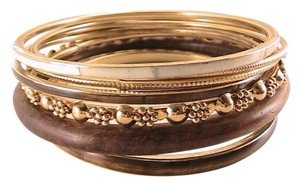 Wood Brass Bangle Bracelet Ser