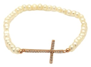 Pearl Rose Gold Plated Sideway Cross Bracelet