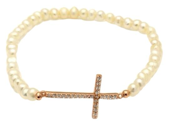 Other Pearl Rose Gold Plated Sideway Cross Bracelet