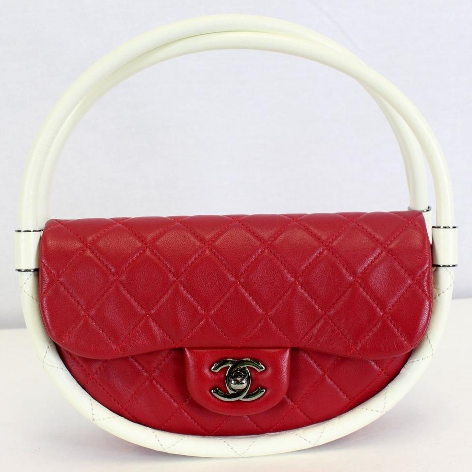 a4b12c7cf5c2 Chanel Quilted Lambskin Hula Hoop Flap Runway Double Red Leather ...