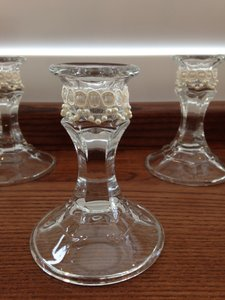 Pearl Lace Adorned Candlesticks