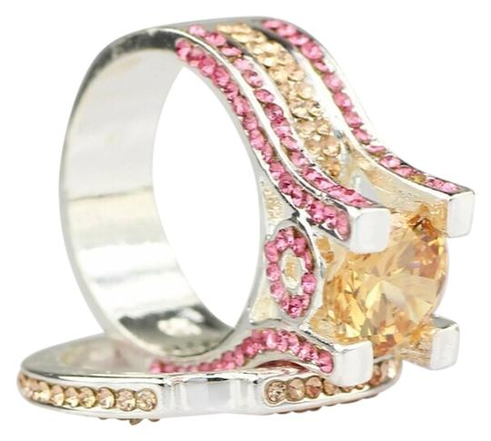 Other New Pink & Yellow Sapphire & 10K White GF Wedding Ring Set SZ 6
