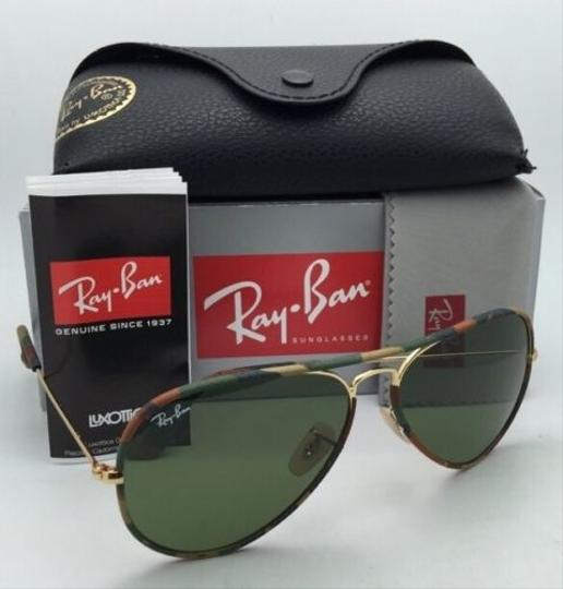 Ray-Ban New RAY-BAN Sunglasses Aviator Full Color RB 3025-J-M 168/4E 58-14 Multi-Color Camouflage Frame w/Green lenses