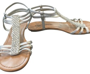 City Classified Gladiator Silver Sandals