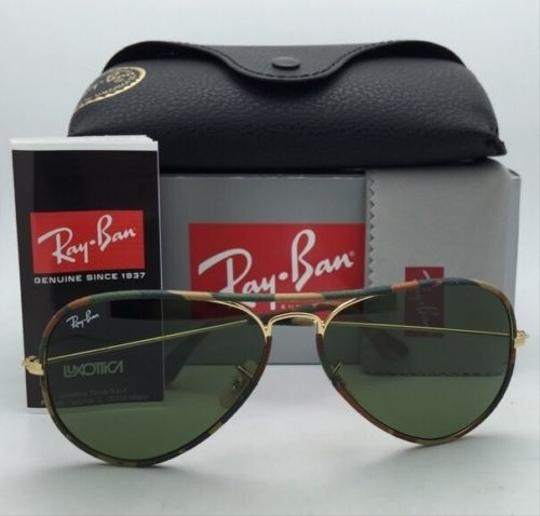 Ray-Ban New RAY-BAN Sunglasses Aviator Full Color RB 3025-J-M 168/4E 55-14 Multi-Color Camouflage Frame w/Green lenses