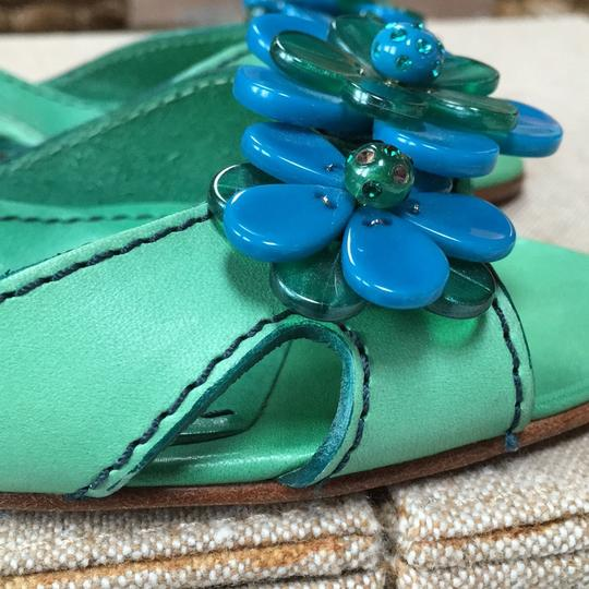 Marc Jacobs Dull green learher with blue beads and stones. Stitching looks very unique. Sandals