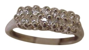 Estate Sterling Silver 925 1.00cttw Cubic Zirconia Wedding Band Ring,1950s