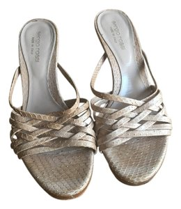 Sergio Rossi Python Neutral Slip-on Woven Nude Sandals