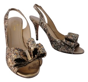 Kate Spade Sequin Bow Gold Pumps